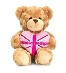 pink heart london bear