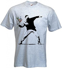 banksy throw flower t-shirt